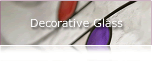 image of clear, purple and red peice of decorative glass.